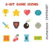 8 bit item icons  flat vector... | Shutterstock .eps vector #194596487