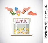 donation box with hand   vector ... | Shutterstock .eps vector #194598383
