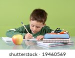 7 years old boy doing his... | Shutterstock . vector #19460569