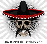 skull mexican style with... | Shutterstock .eps vector #194608877