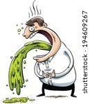 a cartoon man vomits a stream... | Shutterstock .eps vector #194609267