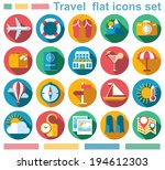 flat travel icons set | Shutterstock .eps vector #194612303