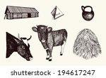 farm animals set on white... | Shutterstock .eps vector #194617247