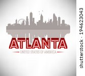 Atlanta USA skyline silhouette vector design. - stock vector
