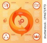 orange circle round arrow... | Shutterstock .eps vector #194671973