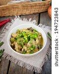 Small photo of turkey stew with mushrooms and yogurt