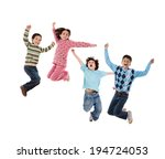four children jumping isolated... | Shutterstock . vector #194724053