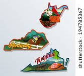 Kentucky, Virginia, West Virginia illustrations retro luggage stickers