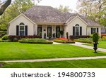 one storey house with a lawn...   Shutterstock . vector #194800733