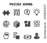 puzzle icons  mono vector... | Shutterstock .eps vector #194835227