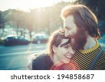 young modern stylish couple... | Shutterstock . vector #194858687