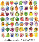 cartoon cute monsters and...   Shutterstock .eps vector #194866997