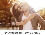 young couple have fun in sunny...   Shutterstock . vector #194887817
