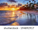 Stock photo brilliant ocean beach sunrise with palm trees 194892917