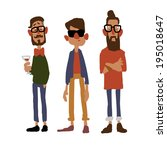 three hipster vector sketch... | Shutterstock .eps vector #195018647
