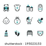 baby icons. vector set. | Shutterstock .eps vector #195023153