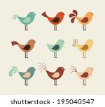bird design over beige... | Shutterstock .eps vector #195040547