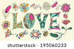 color flowers and letters  ... | Shutterstock .eps vector #195060233