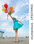 happy romantic fashion girl... | Shutterstock . vector #195074903