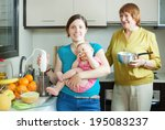 happy women of three... | Shutterstock . vector #195083237
