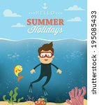 summer vacation with diver... | Shutterstock .eps vector #195085433