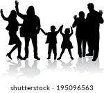 family silhouettes | Shutterstock .eps vector #195096563