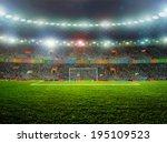 soccer ball on the field of... | Shutterstock . vector #195109523