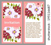 set of invitations with floral... | Shutterstock .eps vector #195116687