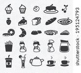 bakery icons set. illustration... | Shutterstock .eps vector #195124793