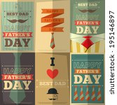 Father's Day Retro Posters Set. Flat Design. Vintage Style. Vector Illustration.