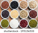 multicolored beans in ceramics... | Shutterstock . vector #195156533
