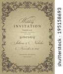 wedding invitation cards ... | Shutterstock .eps vector #195158693