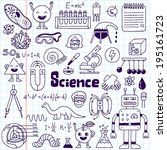 school science doodle set 1... | Shutterstock .eps vector #195161723