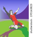 victory of the football player... | Shutterstock .eps vector #195163823
