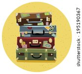 collection of travel suitcases. ... | Shutterstock .eps vector #195190367