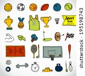 doodle sports icon. vector... | Shutterstock .eps vector #195198743