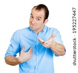 Small photo of Closeup portrait angry unhappy, aggravated annoyed young man, getting mad, asking question you talking to, mean me? Isolated white background. Negative human emotion facial expression feeling reaction