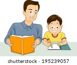 illustration of a father... | Shutterstock .eps vector #195239057