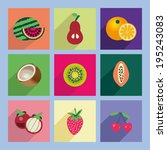 fresh fruit icons set   cute... | Shutterstock .eps vector #195243083