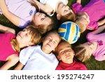 happy group of children lying... | Shutterstock . vector #195274247