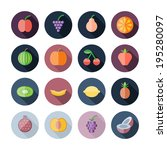 flat design icons for fruits.  | Shutterstock .eps vector #195280097