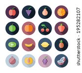 flat design icons for fruits.... | Shutterstock . vector #195282107