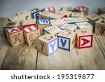 variety wooden blocks on wooden ...