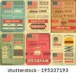 fast food posters collection in ... | Shutterstock .eps vector #195337193