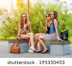 3 pretty woman eating ice cream ... | Shutterstock . vector #195350453