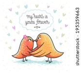 illustration of two cute birds... | Shutterstock . vector #195359663
