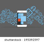 different icons flows into... | Shutterstock .eps vector #195392597