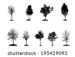 set of tree silhouette isolated ... | Shutterstock .eps vector #195419093