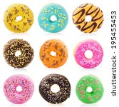 donuts isolated on white... | Shutterstock . vector #195455453