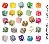 alphabet written with blocks  ... | Shutterstock .eps vector #195489647
